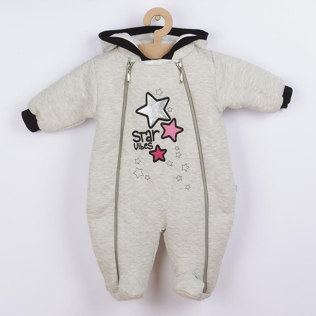 Zimní kojenecká kombinéza s kapucí Koala Star Vibes růžová vel. 56 (0-3m)