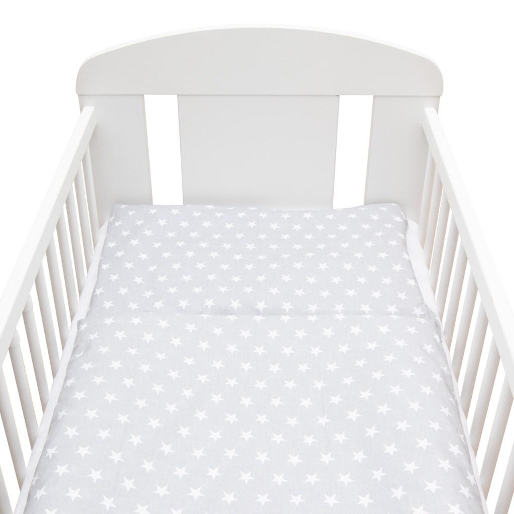 2-dílné ložní povlečení New Baby 90/120 cm šedé Hvězdičky bílé