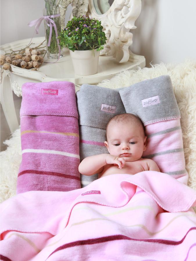 Dětská bavlněná deka Womar 75x100 šedo-růžová