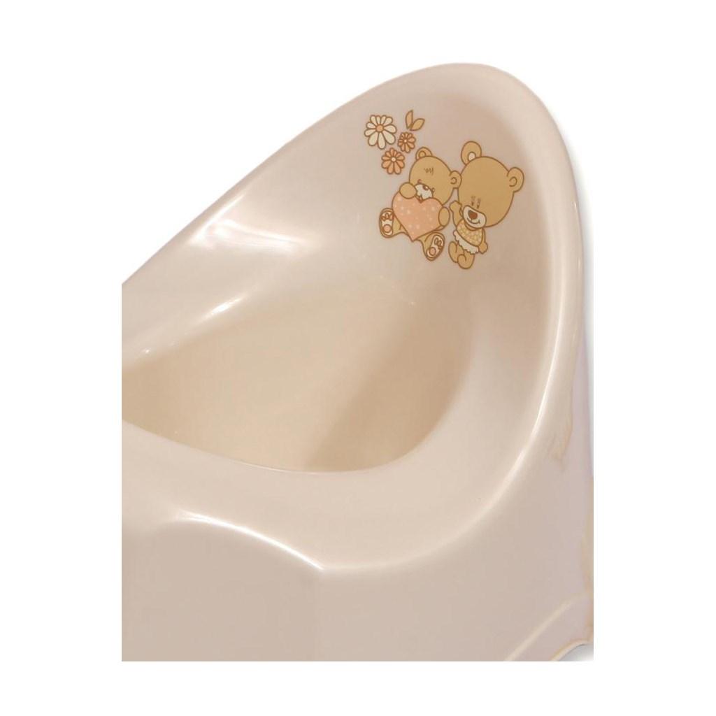 Hrající dětský nočník protiskluzový béžový medvídek