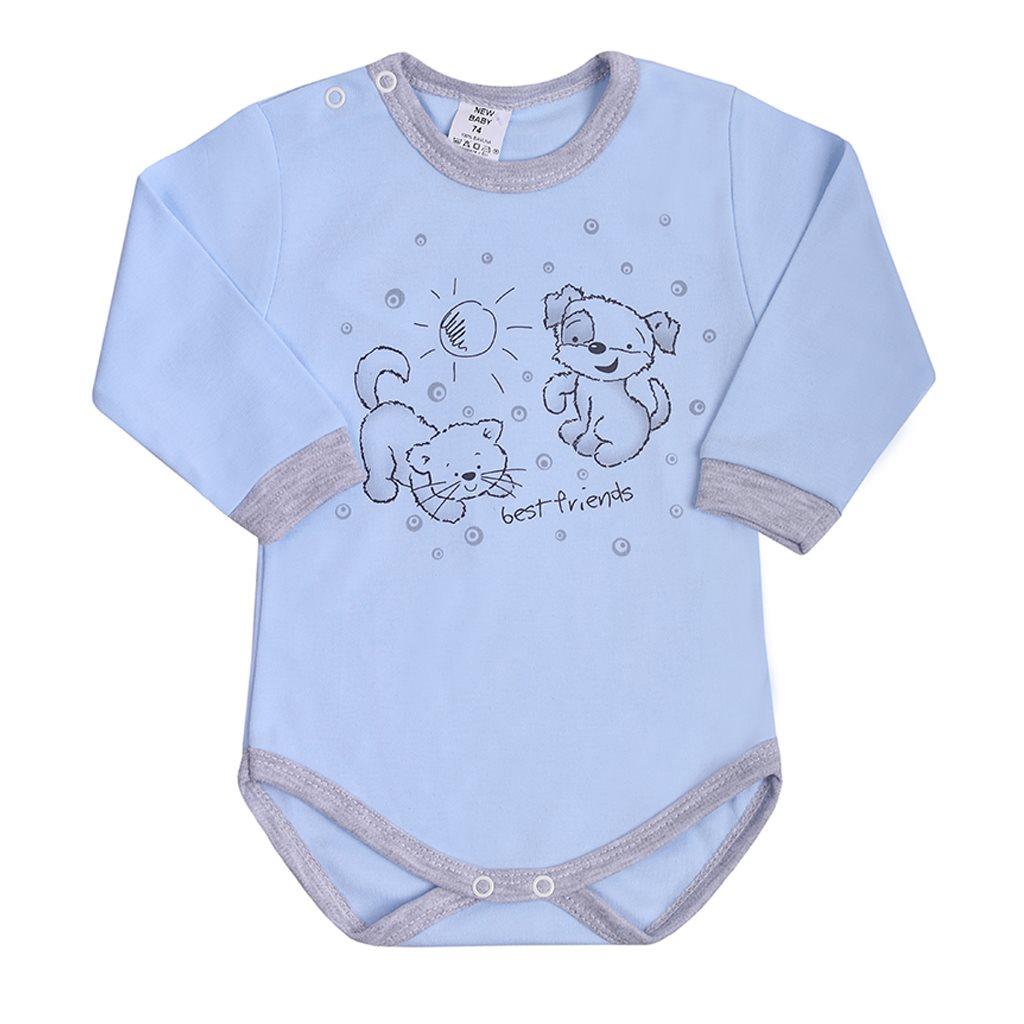 Kojenecké body s dlouhým rukávem New Baby Kamarádi modré, vel. 80 (9-12m)