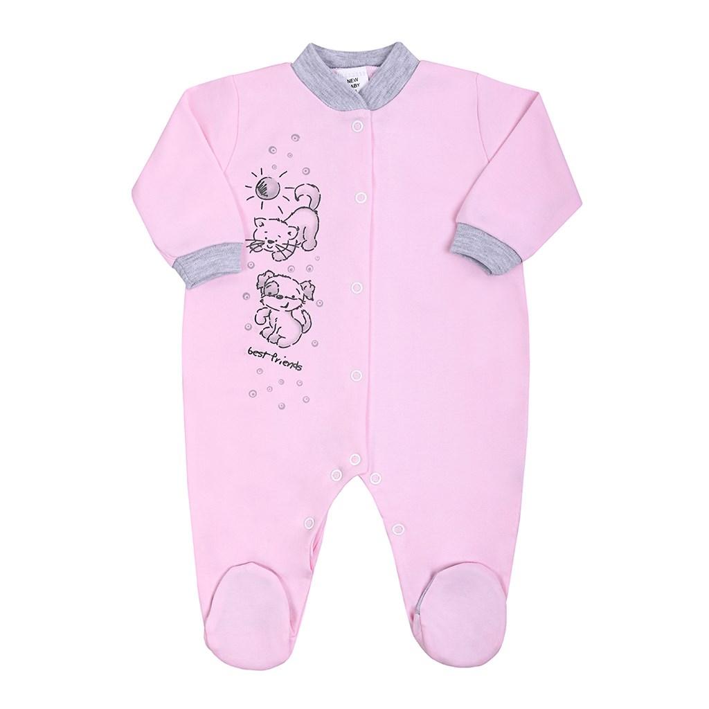 Kojenecký overal New Baby Kamarádi růžový, vel. 80 (9-12m)